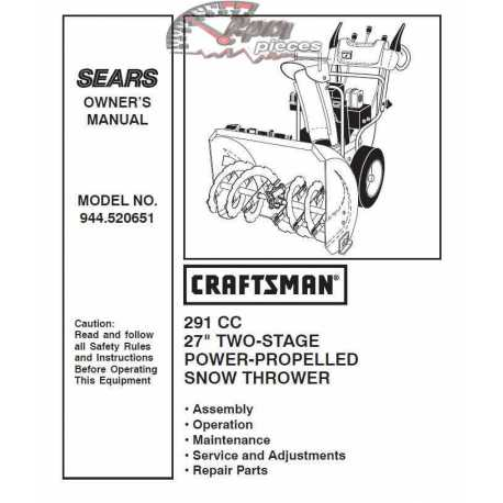 Craftsman snowblower Parts Manual 944.520651