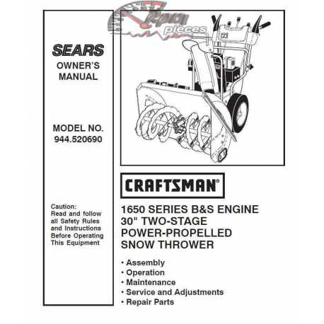 Craftsman snowblower Parts Manual 944.520690