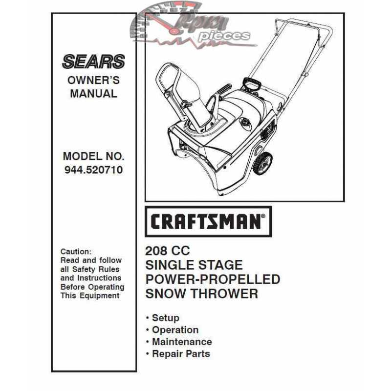 Craftsman snowblower Parts Manual 944.520710