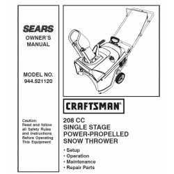 Craftsman snowblower Parts Manual 944.521120