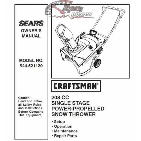 Craftsman snowblower Parts Manual 944.521120