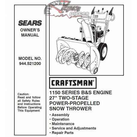 Craftsman snowblower Parts Manual 944.521200