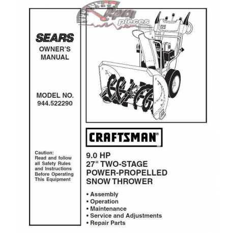 Craftsman snowblower Parts Manual 944.522290