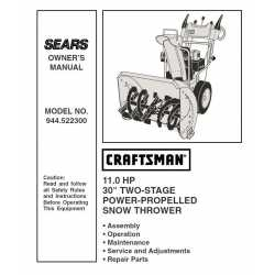 Craftsman snowblower Parts Manual 944.522300
