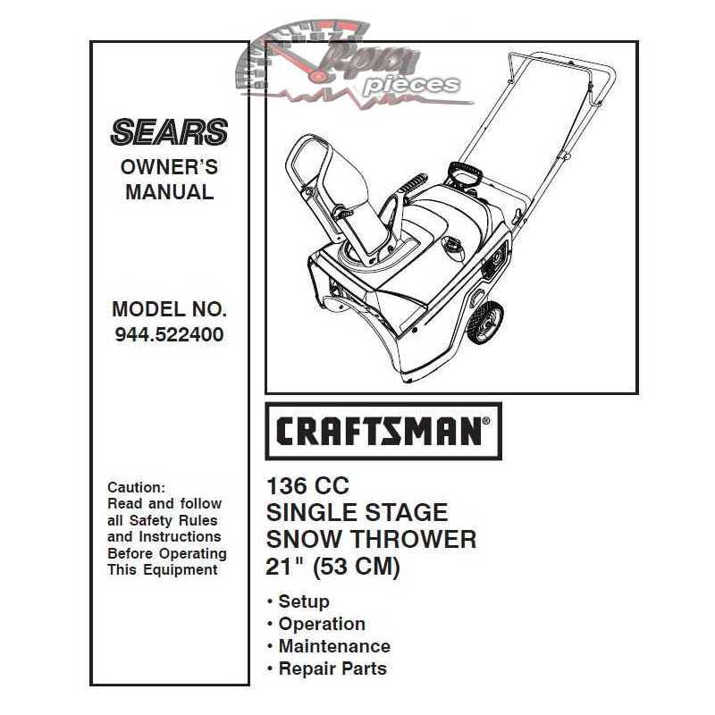 Craftsman snowblower Parts Manual 532.522400