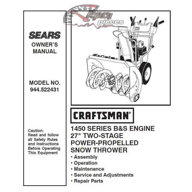 Craftsman snowblower Parts Manual 944.522431