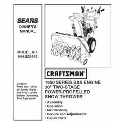 Craftsman snowblower Parts Manual 944.522442