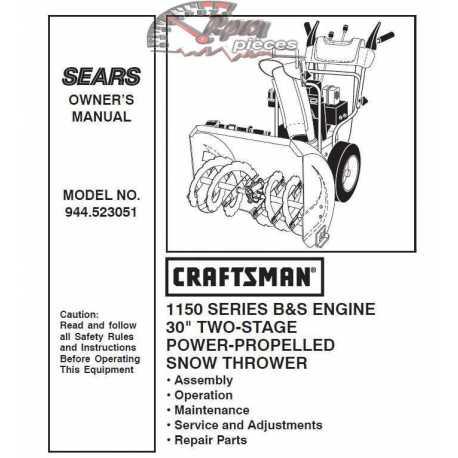 Craftsman snowblower Parts Manual 944.523051