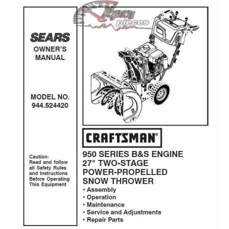 Craftsman snowblower Parts Manual 944.524420