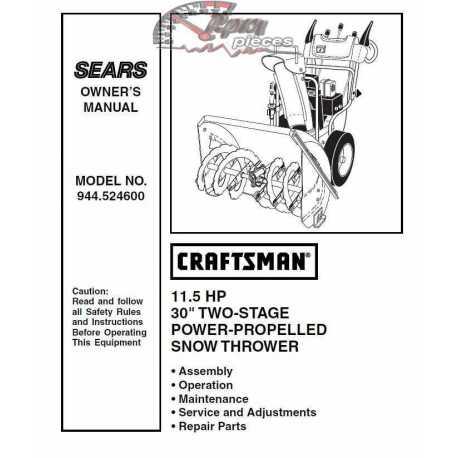 Craftsman snowblower Parts Manual 944.524600