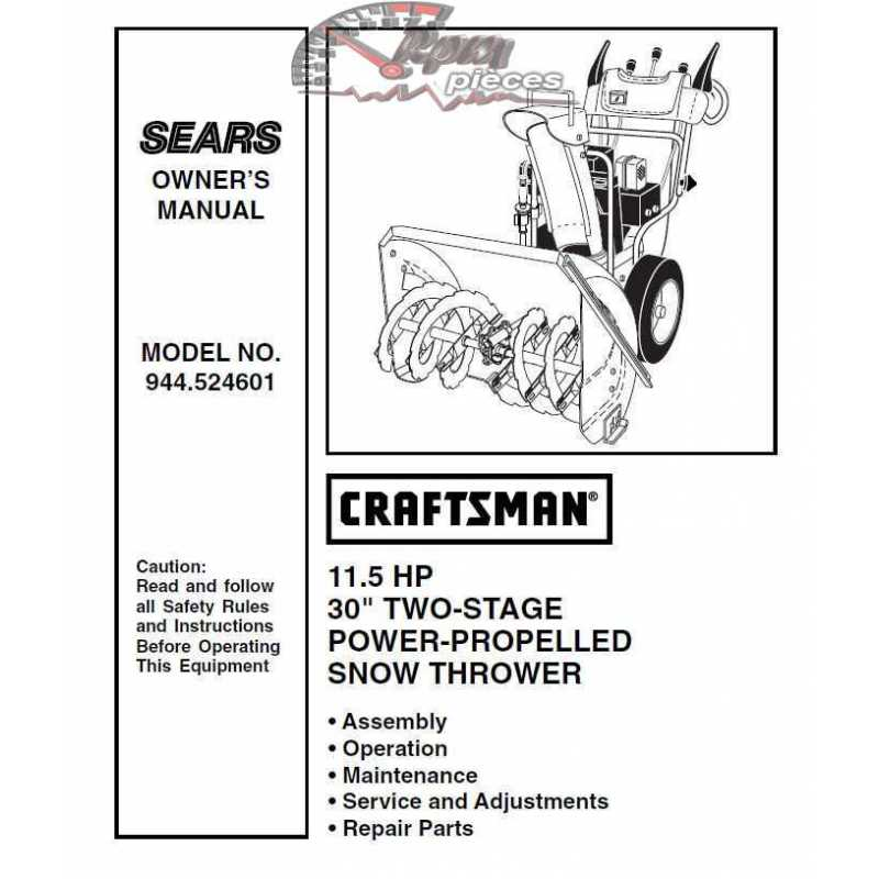 Craftsman snowblower Parts Manual 944.524601