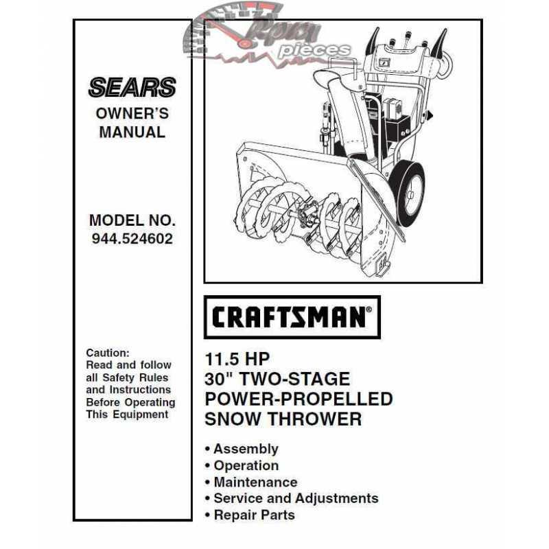 Craftsman snowblower Parts Manual 944.524602