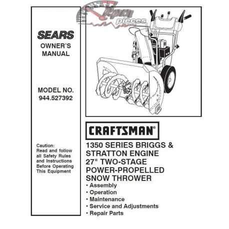 Craftsman snowblower Parts Manual 944.527392
