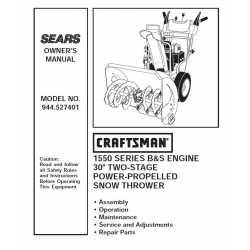 Craftsman snowblower Parts Manual 944.528271