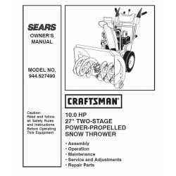 Craftsman snowblower Parts Manual 944.527490