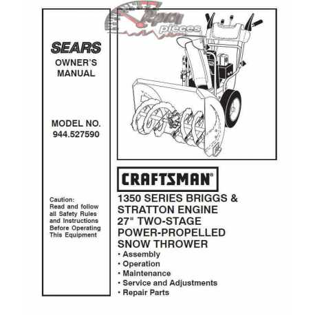 Craftsman snowblower Parts Manual 944.527590