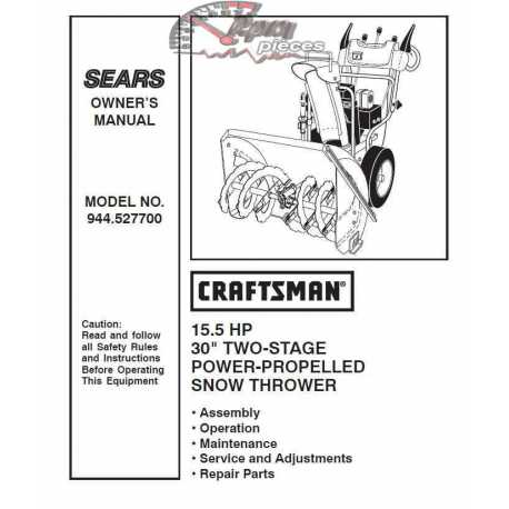 Craftsman snowblower Parts Manual 944.527700