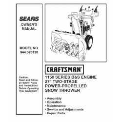 Craftsman snowblower Parts Manual 944.528110
