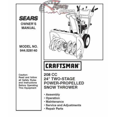 Craftsman snowblower Parts Manual 944.528140
