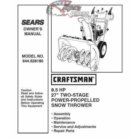 Craftsman snowblower Parts Manual 944.528180
