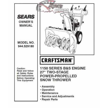 Craftsman snowblower Parts Manual 944.529180