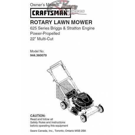 Craftsman lawn mower parts Manual 944.360070