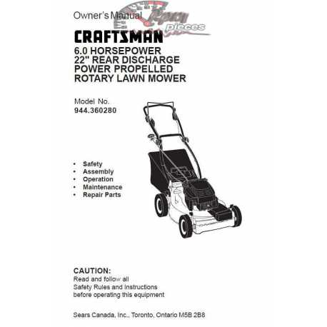 Craftsman lawn mower parts Manual 944.360280
