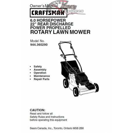 Craftsman lawn mower parts Manual 944.360290