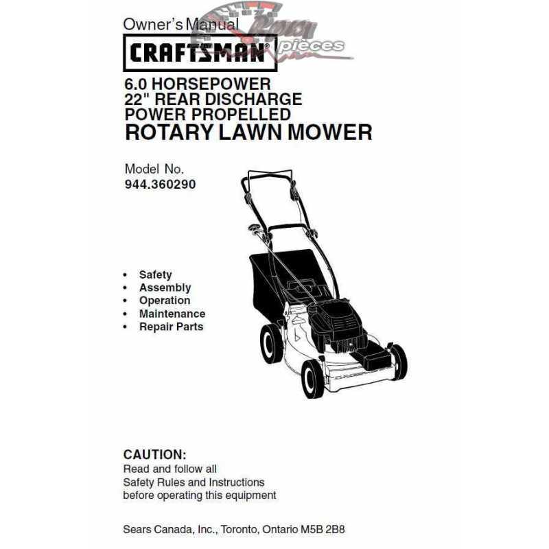 Craftsman lawn mower parts Manual 944.360290