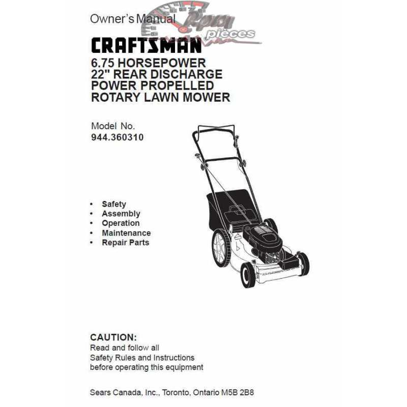 Craftsman lawn mower parts Manual 944.360310