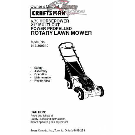 Craftsman lawn mower parts Manual 944.360340