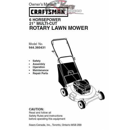 Craftsman lawn mower parts Manual 944.360431