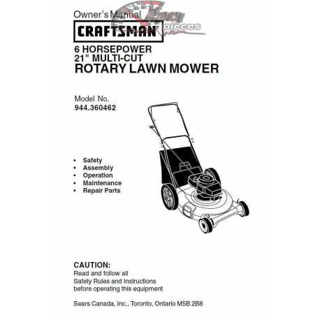 Craftsman lawn mower parts Manual 944.360462