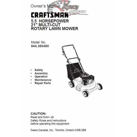 Craftsman lawn mower parts Manual 944.360490