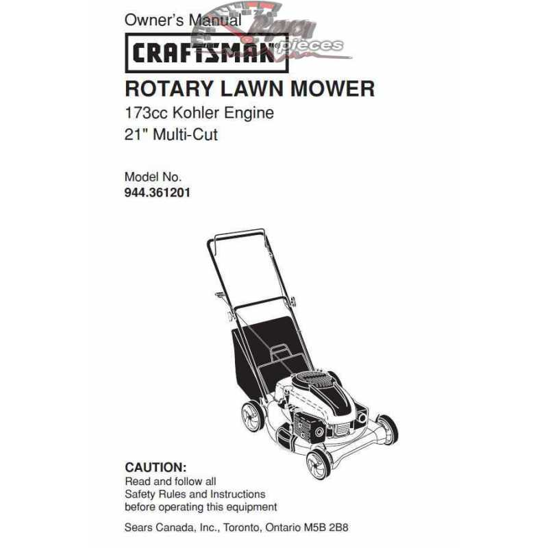 Craftsman lawn mower parts Manual 944.361201