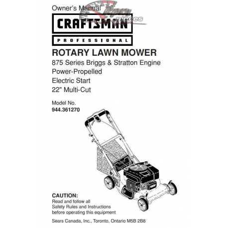 Craftsman lawn mower parts Manual 944.361270