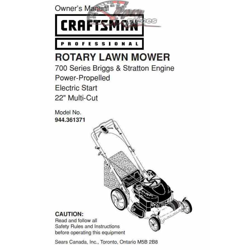 Craftsman lawn mower parts Manual 944.361371