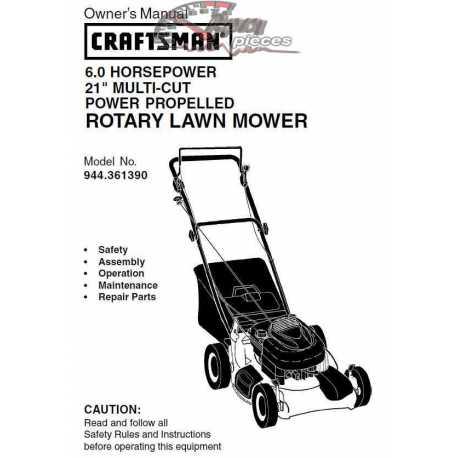 Craftsman lawn mower parts Manual 944.361390