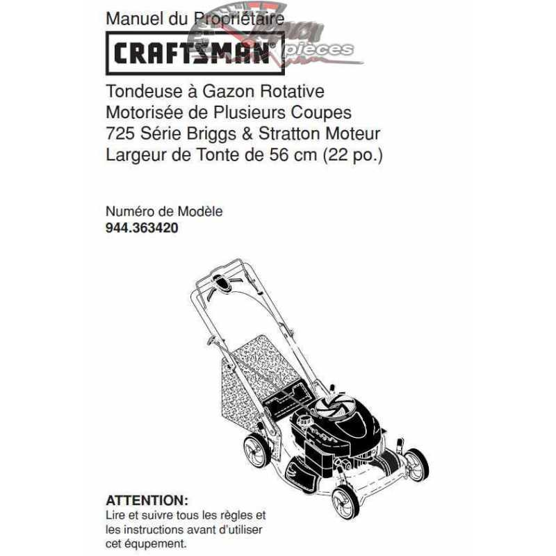 Craftsman lawn mower parts Manual 944.363420