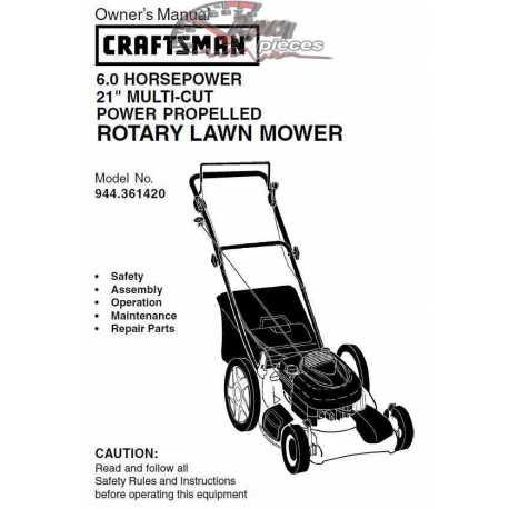 Craftsman lawn mower parts Manual 944.361420