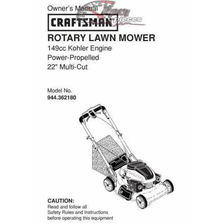 Craftsman lawn mower parts Manual 944.362180