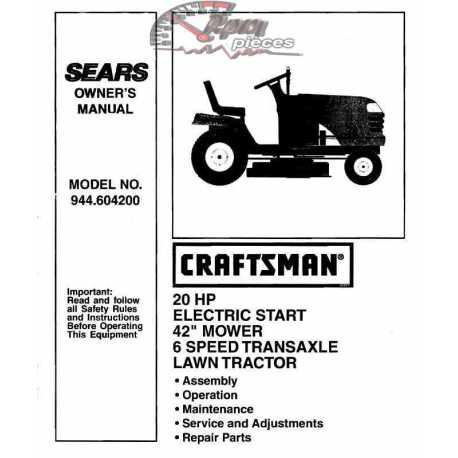 Craftsman Tractor Parts Manual 944.604200