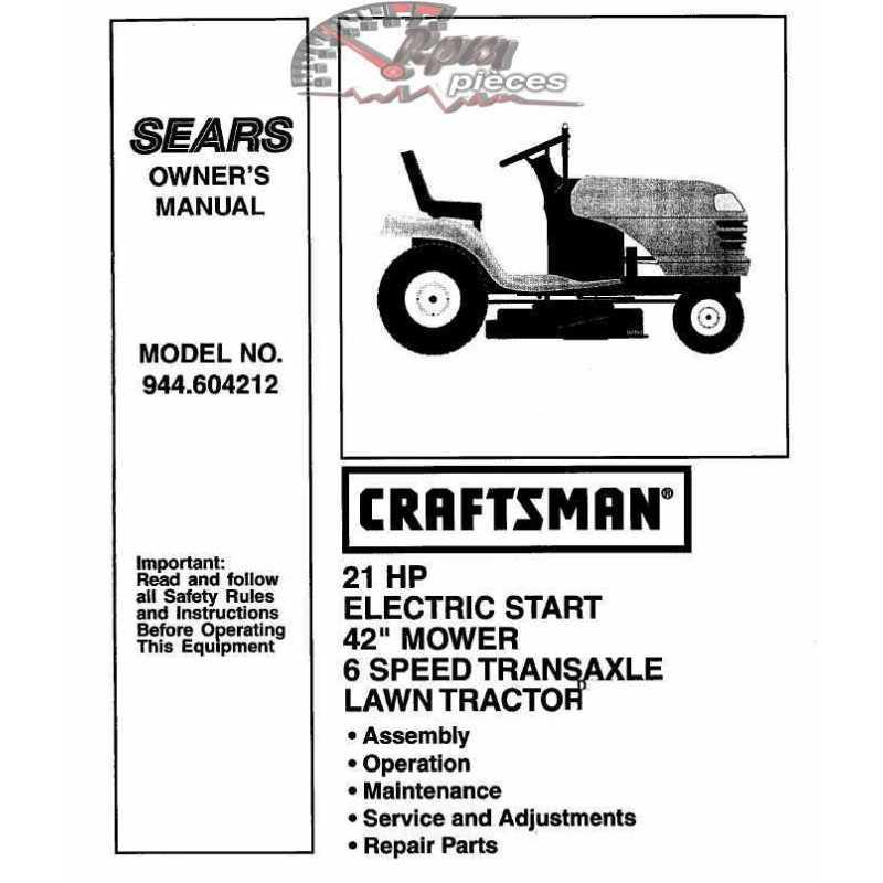 Craftsman Tractor Parts Manual 944.604212
