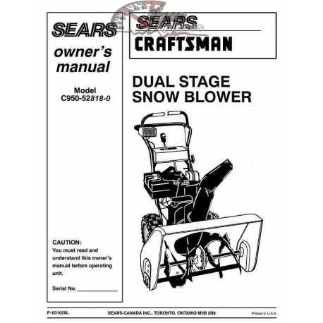 Craftsman snowblower Parts Manual C950-52818-0