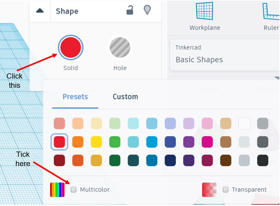 TinkerCAD Tutorial: Change to Multicolour