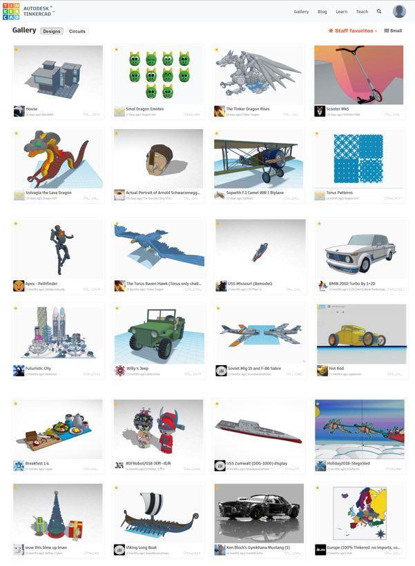 Portion of TinkerCAD Gallery