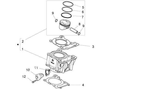 Segment d'origine DERBI pour Aprilia RS4, Scarabeo, DERBI