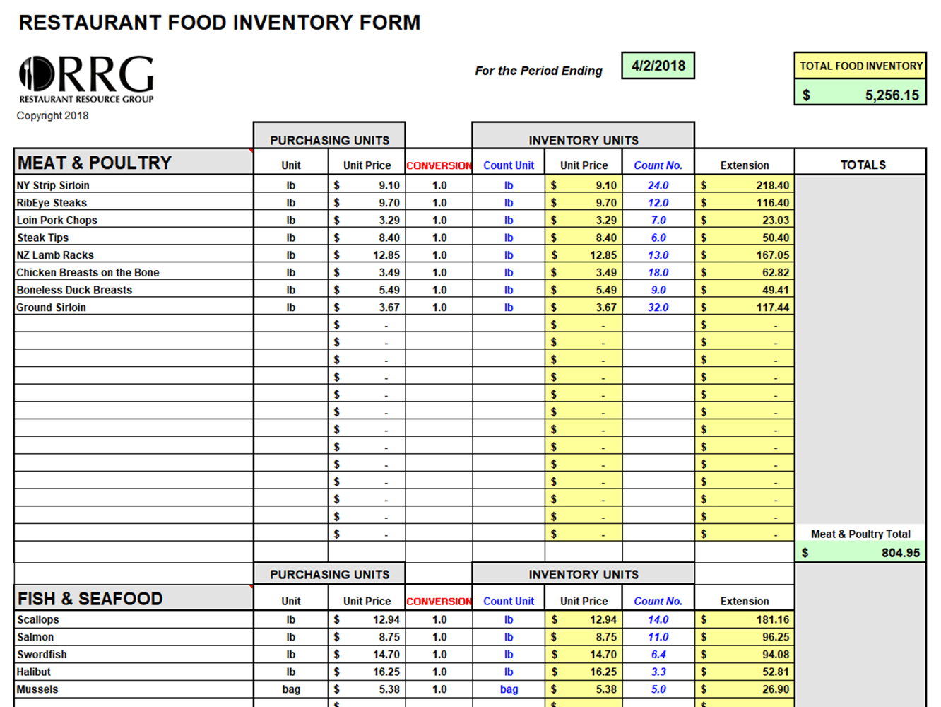 Food And Beverage Inventory Workbook Spreadsheet