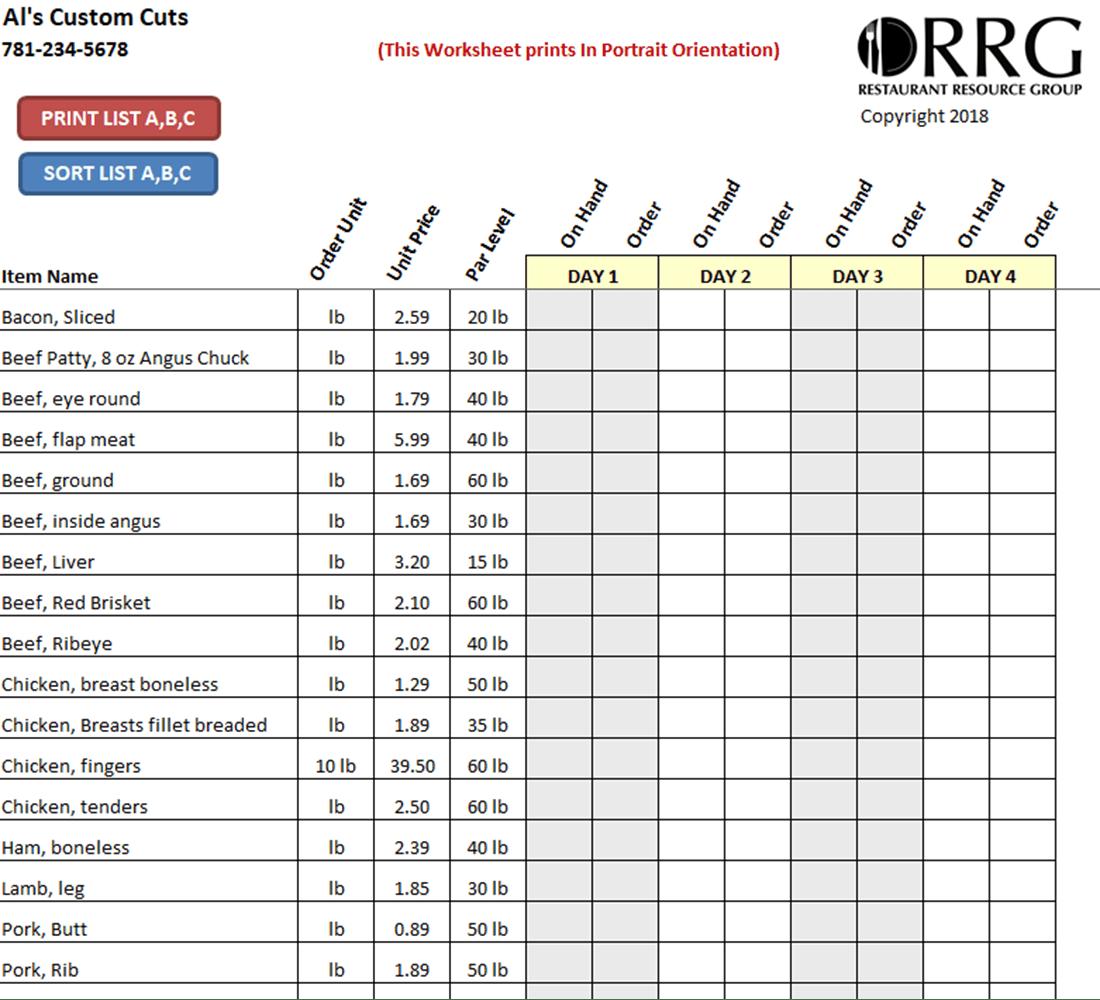 Restaurant Vendor Order Guide WorkbookSpreadsheet