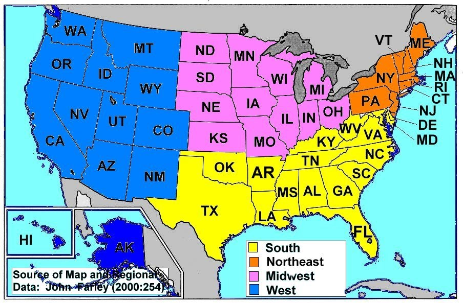 In the second column, write the state abbreviation. Geography Classroom